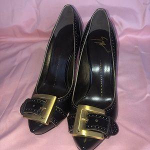Giuseppe Zanotti dark brown buckle heels